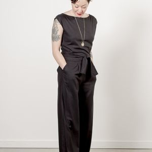 New Ozma Matador black raw silk jumpsuit size L